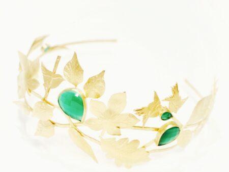 Diadema novia con piedras verdes