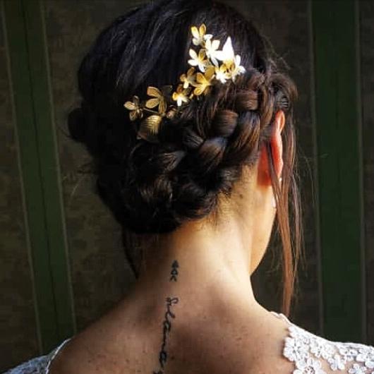 Miedo con peineta de novia de hojas